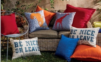 "Outdoor living in Mzanzi. Get ready for summer in South Africa with great outdoor furniture. Don't you just love the ""Be nice or leave"" scatter cushion?"