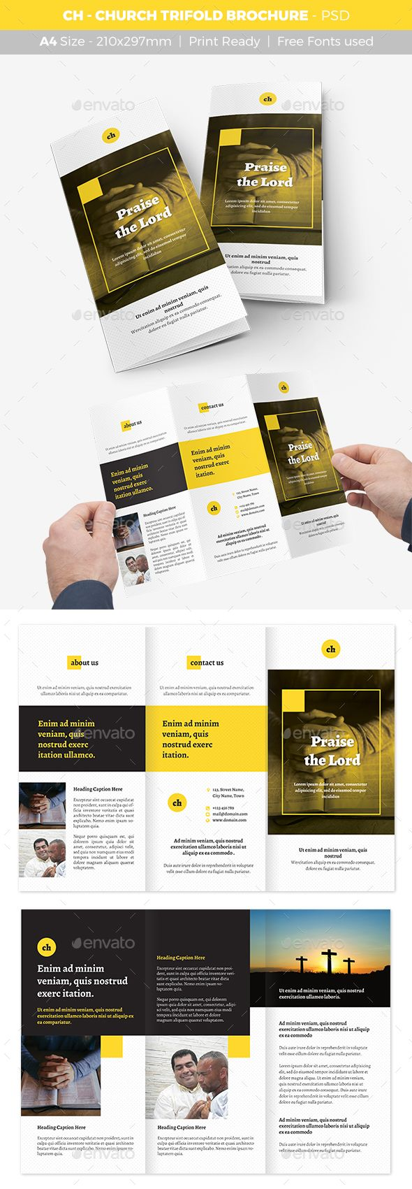 Church Trifold Brochure  -  PSD Template • Only available here! ➝ https://graphicriver.net/item/ch-church-trifold-brochure/17200255?ref=pxcr