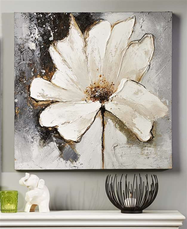 Giftcraft - White Flower Oil Painting on Canvas