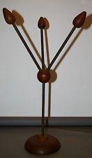 Art Deco Hutständer für 3 Hüte, Messing mit Holz