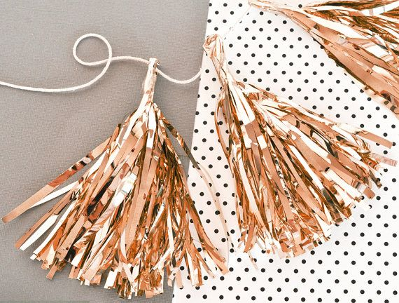 Rose Gold Decor Garlands with add some sparkle to your wedding, birthday or baby shower! Silver, Rose Gold or Gold Mini tassels are super metallic and