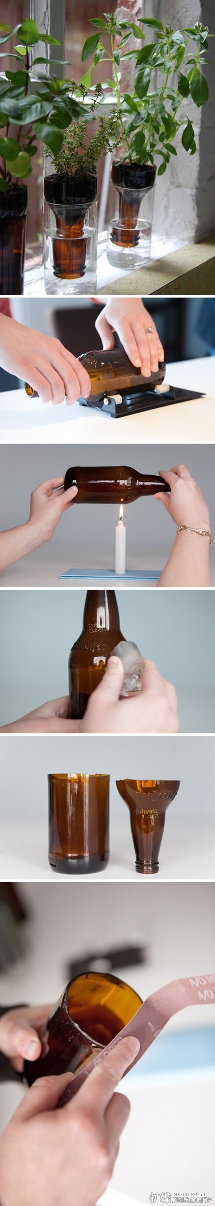 how to cut glass bottle for herb planters