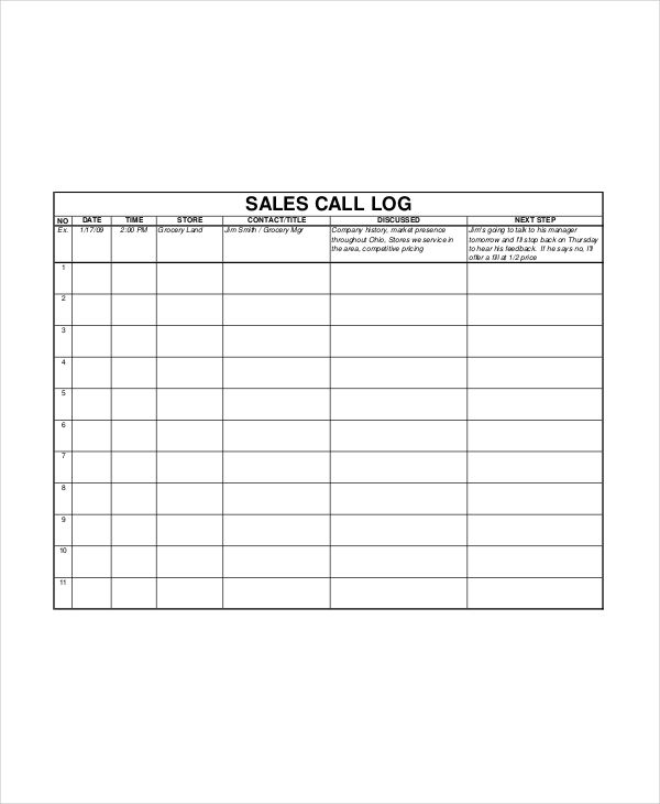 Sales Log Templates 10+ Free Printable Word, Excel  PDF
