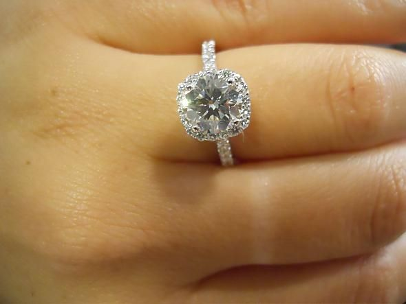 1.5 carat cushion cut micropave halo.