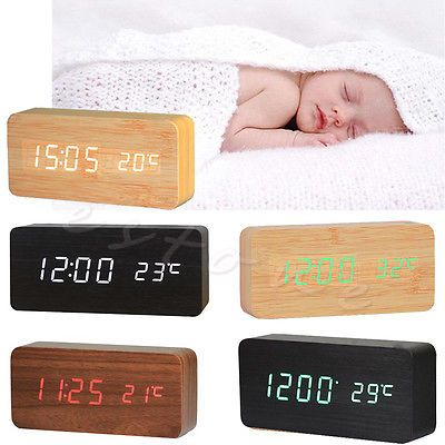 1Pc Hot Digital LED Snooze Voice Control Wood Desk Alarm Clock Timer Thermometer