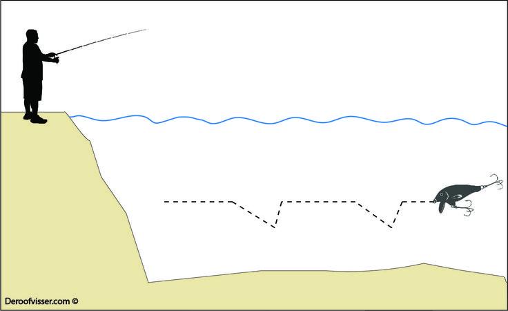 Kunstaas pluggen leveren mooie vangsten op. Je kan er goed mee snoekvissen, baarsvissen en snoekbaars vissen. Maar welke techniek kan je gebruiken voor het kunstaas vissen met pluggen? De illustratie laat zien hoe je door zo nu en dan versneld binnen te halen extra actie aan je kunstaas plug geeft. Wil je meer tips over kunstaas vissen of het vissen op roofvis in het algemeen? Bezoek dan onze website eens https://www.deroofvisser.com