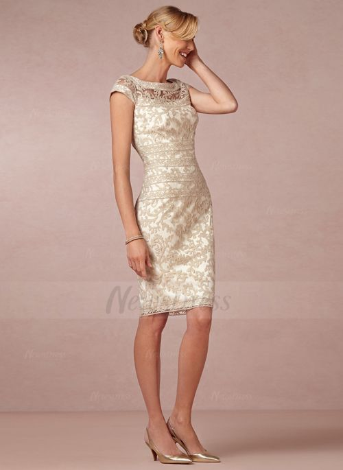 Sheath/Column Scoop Neck Knee-Length Lace Zipper Up Cap Straps Sleeveless No Champagne Spring Summer Mother of the Bride Dress