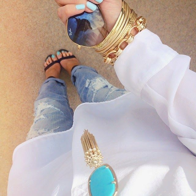 Ripped Boyfriend jeans, White Tunic, Kendra Scott turquoise necklace, ray ban aviators, gold bangles, black strappy sandals, cheap black strappy heels, Emily Ann Gemma instagram, The Sweetest Thing Instagram