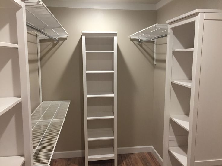 Walk In Closet Makeover With Ikea Hemnes Towers And Container Store  Shelving And Rods.