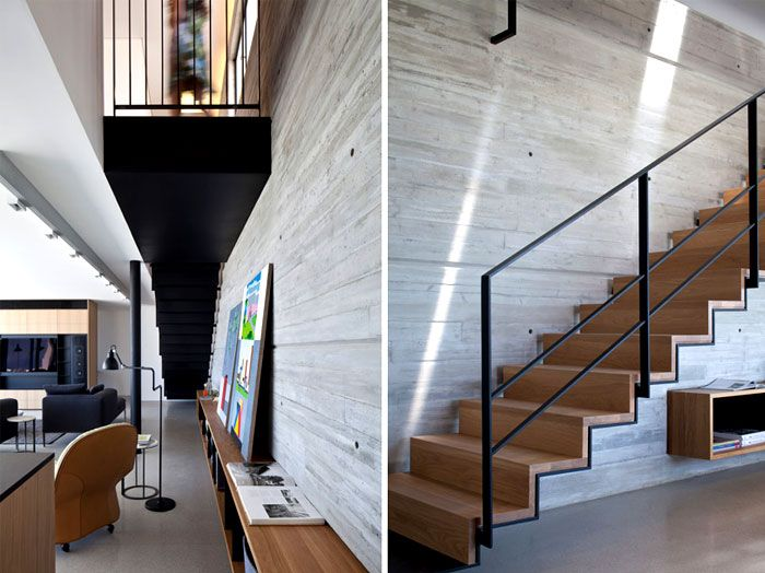 Rooftop Apartment with Exposed Concrete Walls