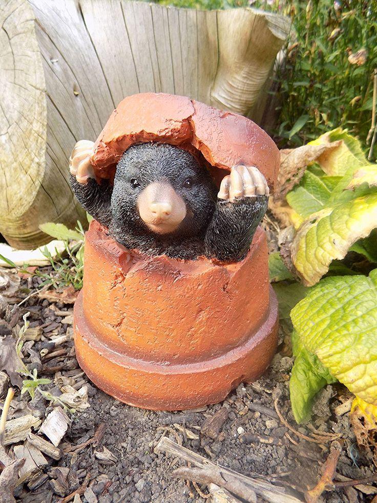 Mole In Flower P*T Garden Ornament Resin Amazon Co Uk 400 x 300
