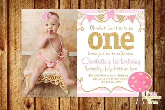 Gold Glitter and Pink First Birthday Party by PinkLemonadeTree