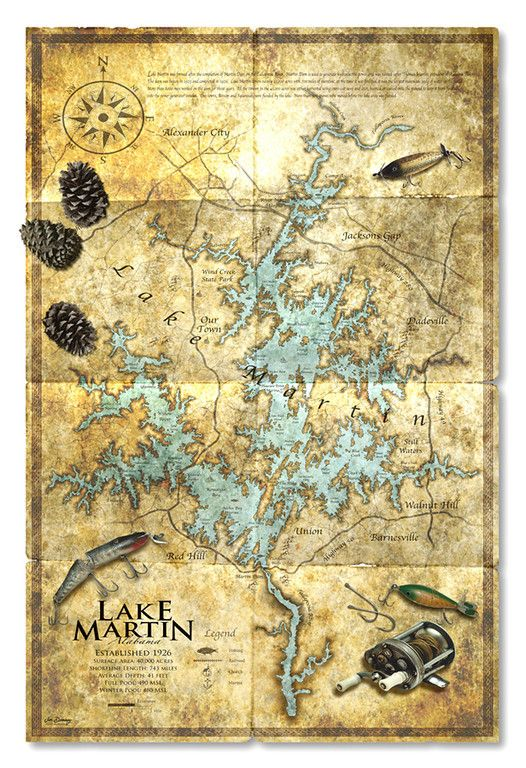Antique Map Of Lake Martin Alabama Highly Detailed Map