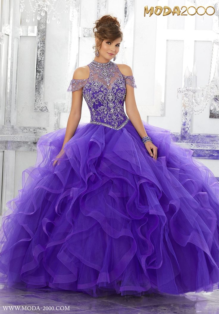 MODA 2000 BEAUTIFUL PURPLE QUINCEANERA DRESS | HALTER & OFF THE SHOULDER SLEEVE! Follow us on instagram for daily updates @moda_2000