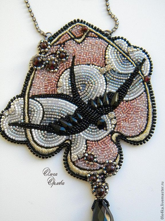Beautiful bead embroidery necklace