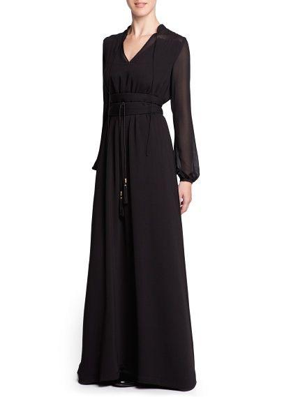 MANGO - CLOTHING - Dresses - Chiffon panel long dress