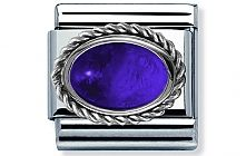 Nomination stainless steel and Sterling Silver setting with an oval Amethyst Semi Precious Stone Classic Charm
