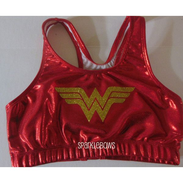 Wonder Woman Super Hero Metallic Sports Bra Cheerleading Yoga Running... ($23) ❤ liked on Polyvore featuring activewear, sports bras, brown, women's clothing, yoga sports bra, sports bra, athletic sportswear, metallic sports bra and red sports bra