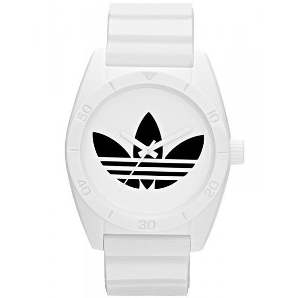 Adidas Santiago White Dial White Polyurethane Quartz Watch ($46) ❤ liked on Polyvore featuring jewelry, watches, accessories, bracelets, fillers, dial watches, quartz watches, quartz bracelet, white face watches and sport watch