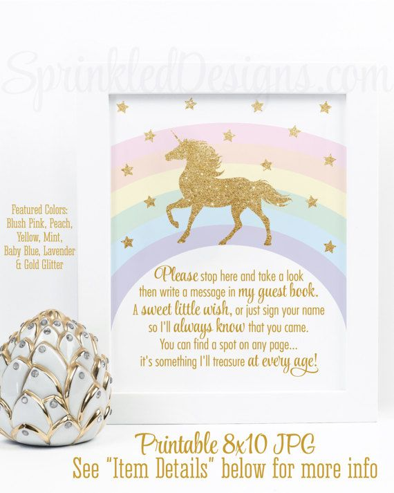 Printable Rainbow Unicorn Birthday Party Decorations, Birthday Guest Book  Sign, Sign My Book, Unicorn Birthday Party Baby Shower Printables