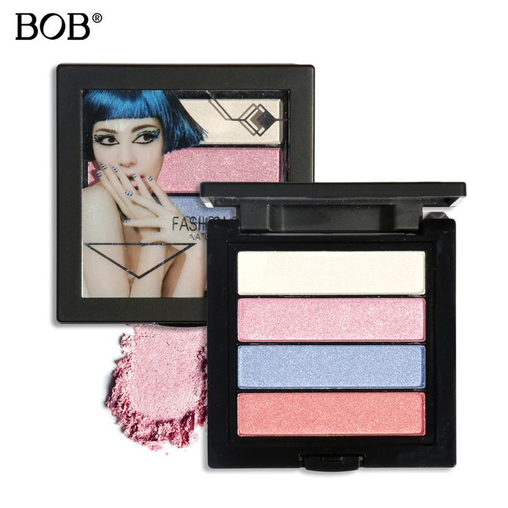 BOB  Branded Makeup Waterproof 4 Color Glitter Shimmer Make Up Colors Nude Pigments Professional Eyeshadow Palette