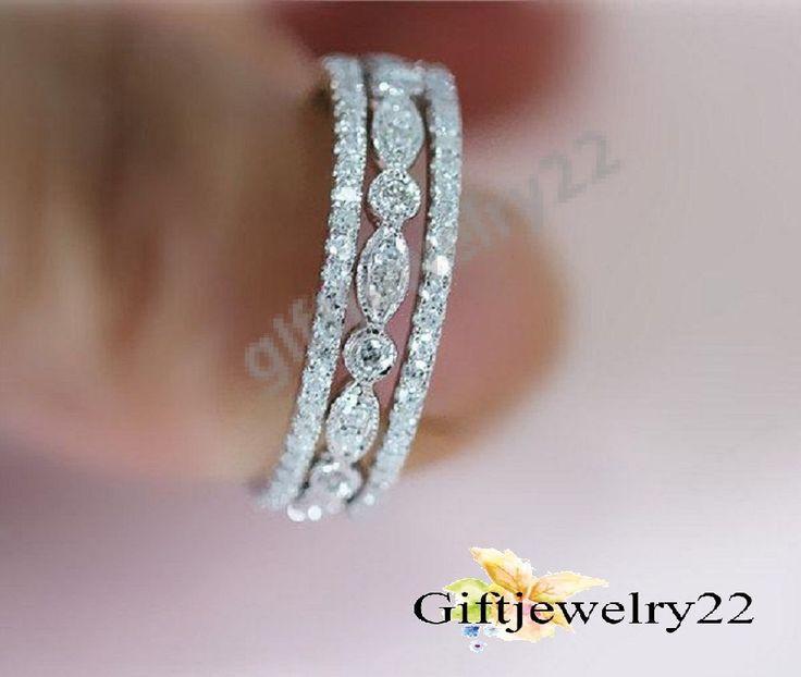 0.90 CT. Women's Band Set White Gold Over Wedding Engagement Matching Band Set #giftjewelry22 #EngagementWeddingBand