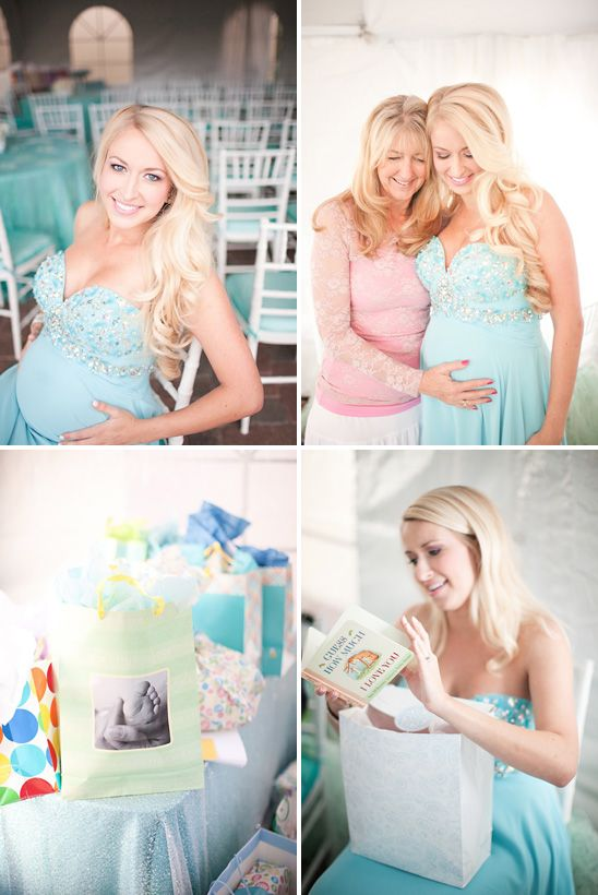 Tiffany Blue Baby Shower ....look At This Womans Hair And Dress.