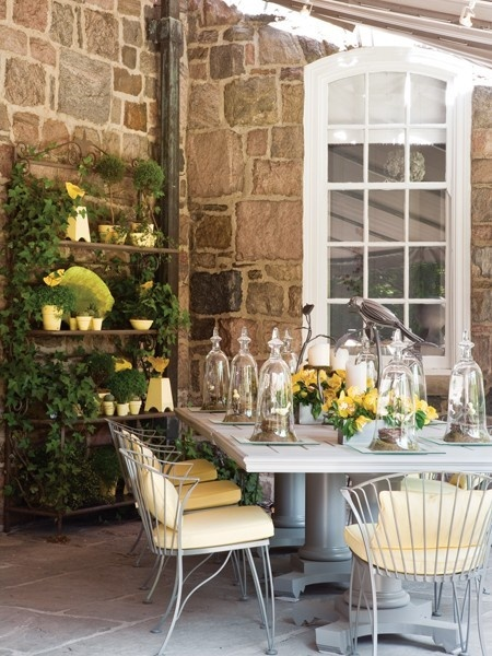 Love the stone and the table settings.