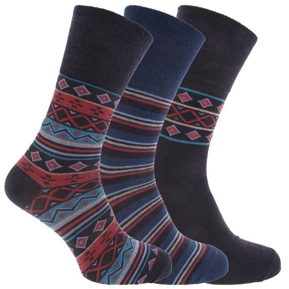 Mens Patterned Cotton Rich Non Elastic Socks (Pack Of 3)
