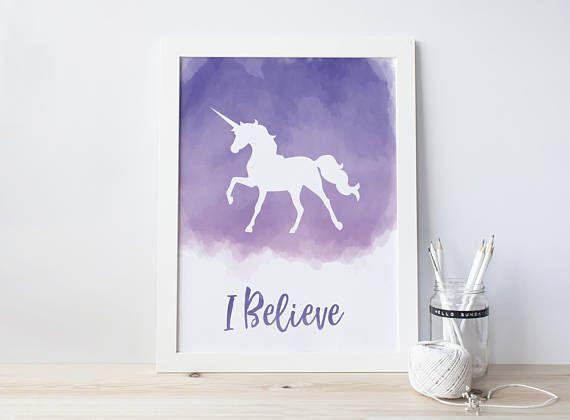 I Believe in Unicorns Purple Unicorn Watercolor Unicorn