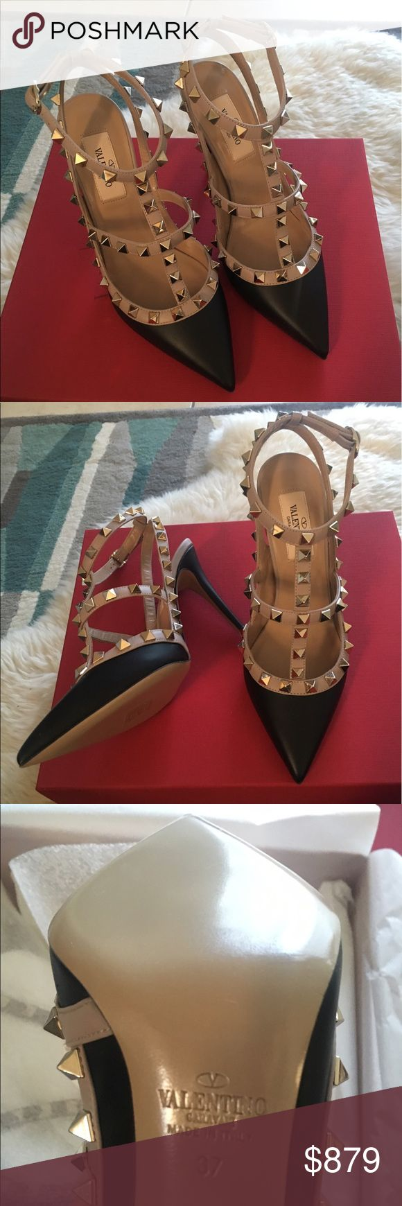 Valentino Rockstud pump New in box. Size 37. Black leather with three straps. Made in Italy Valentino Shoes Heels