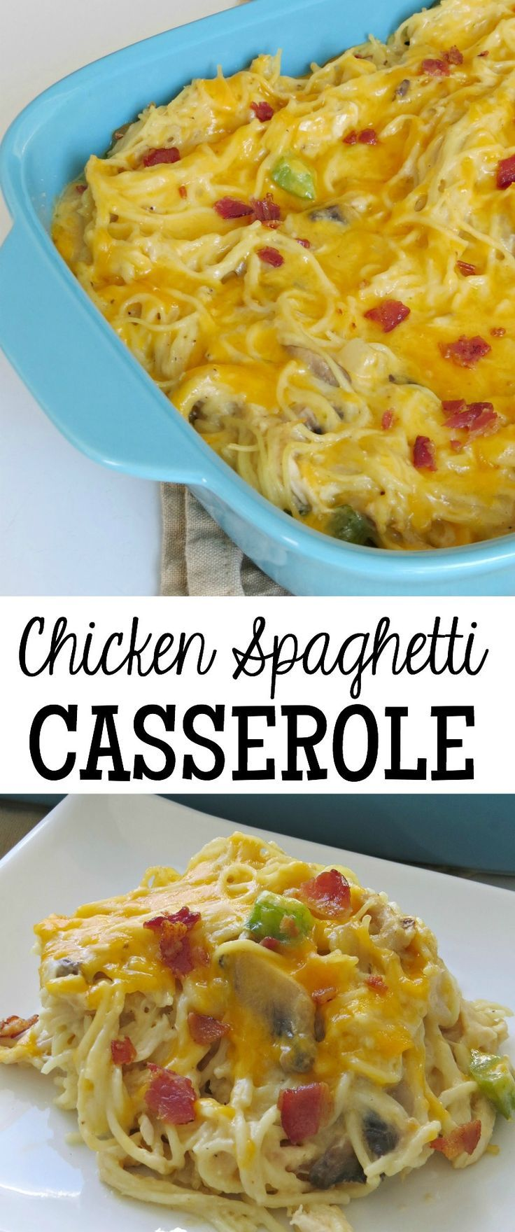 This Chicken Spaghetti Casserole recipe is a great meal idea for busy weeknights. It's an easy one that's delicious!