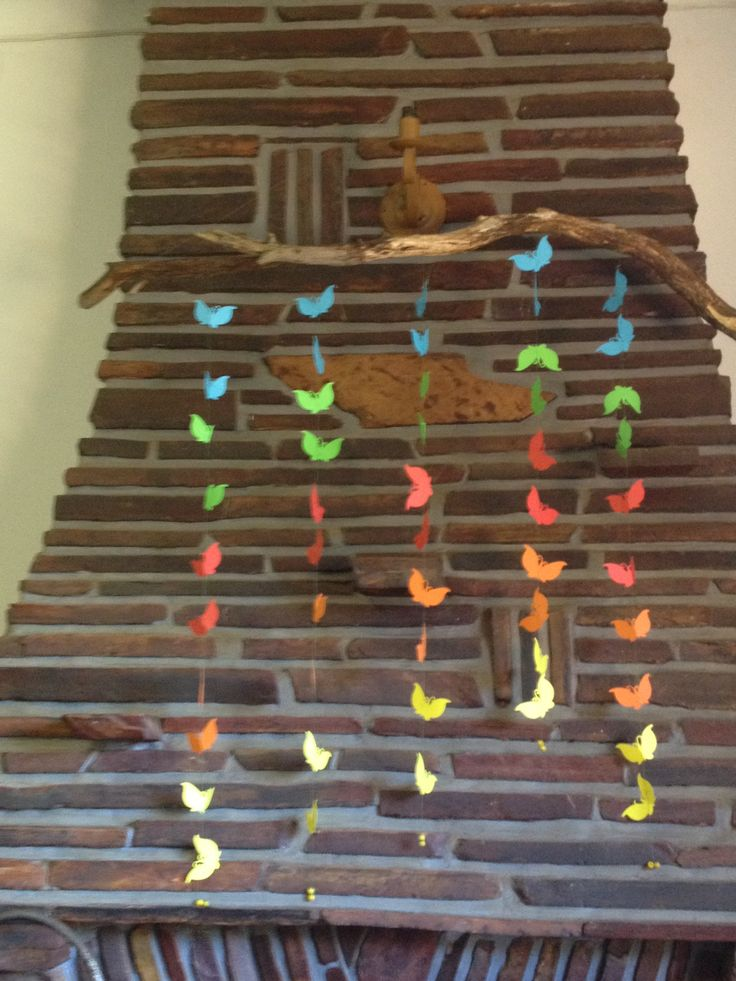Butterfly Mobile - to cheer up the ugly old unused fireplace in my office :)
