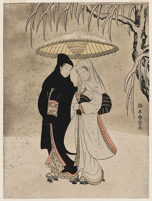 Couple under an umbrella in the snow (crow and heron) Color woodcut print