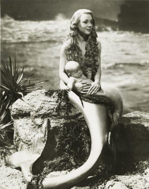 Vintage photo - Mermaid & her Merbaby (actress Glynis Johns)