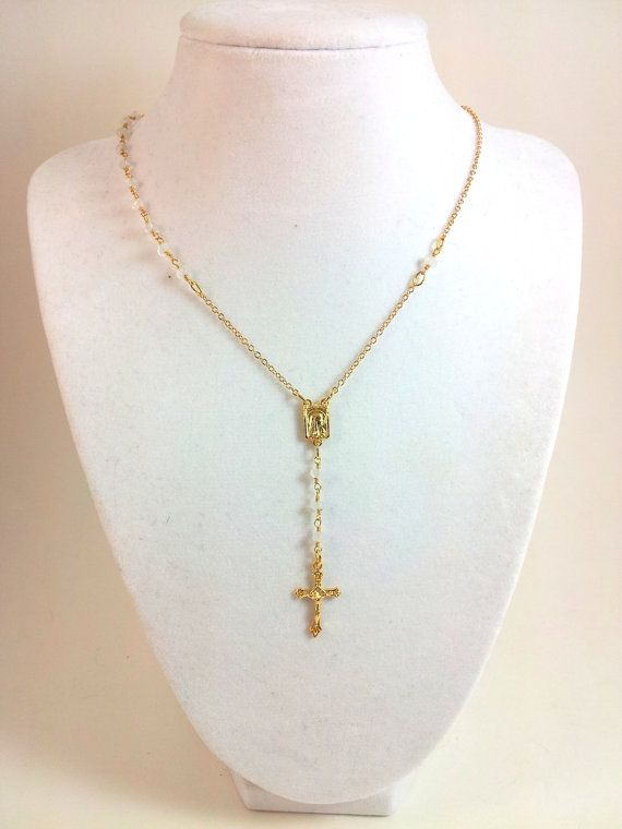 Moonstone Rosary Necklace Gold Cross Real by divinitycollection, $69.00 @Kelly Thimm  do you think lisha would like this?