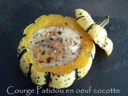 Courge Patidou en oeuf cocotte (le patidou a un petit goût de noisette ou de châtaigne, c'est délicieux !)