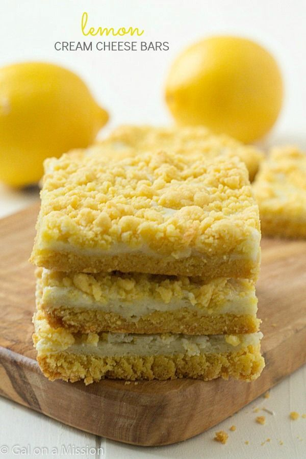 Lemon cream cheese bars: Decadent lemon whipped cream cheese baked between layers of a special ingredient with a delicious streusel lemon topping!