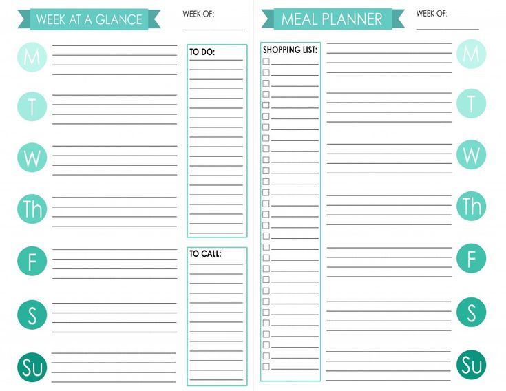 Planner Printable - Week at a Glance and Meal Planner