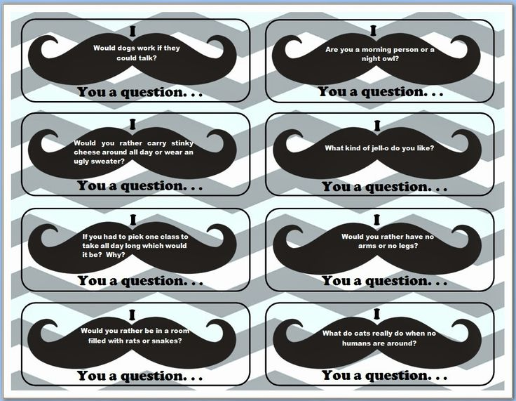 """I """"mustache"""" you a question. . . fun game for icebreaker activity"""