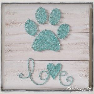 Paw Print Love String Art
