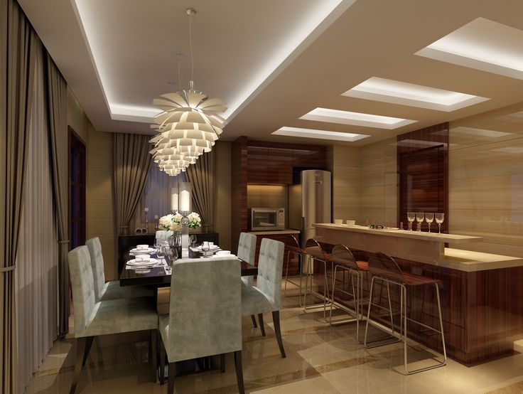 Small Dining Room And Kitchen Design Rendering Ceiling LightsCeiling