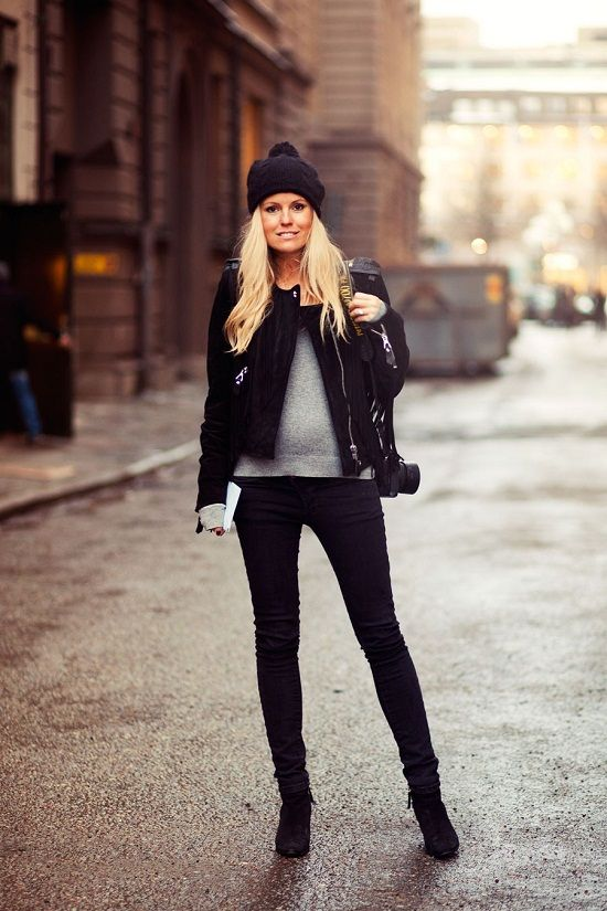 winter maternity Style we just love! Best moot jacket over great sweater and black skinnies...perfection!!