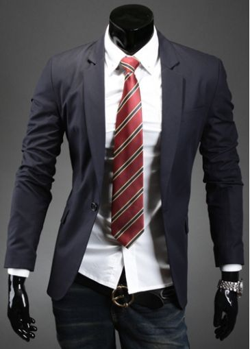 Fine Quality Turndown Collar Navy Blue Men Suit  on sale only US$13.80 now, buy cheap Fine Quality Turndown Collar Navy Blue Men Suit  at martofchina.com
