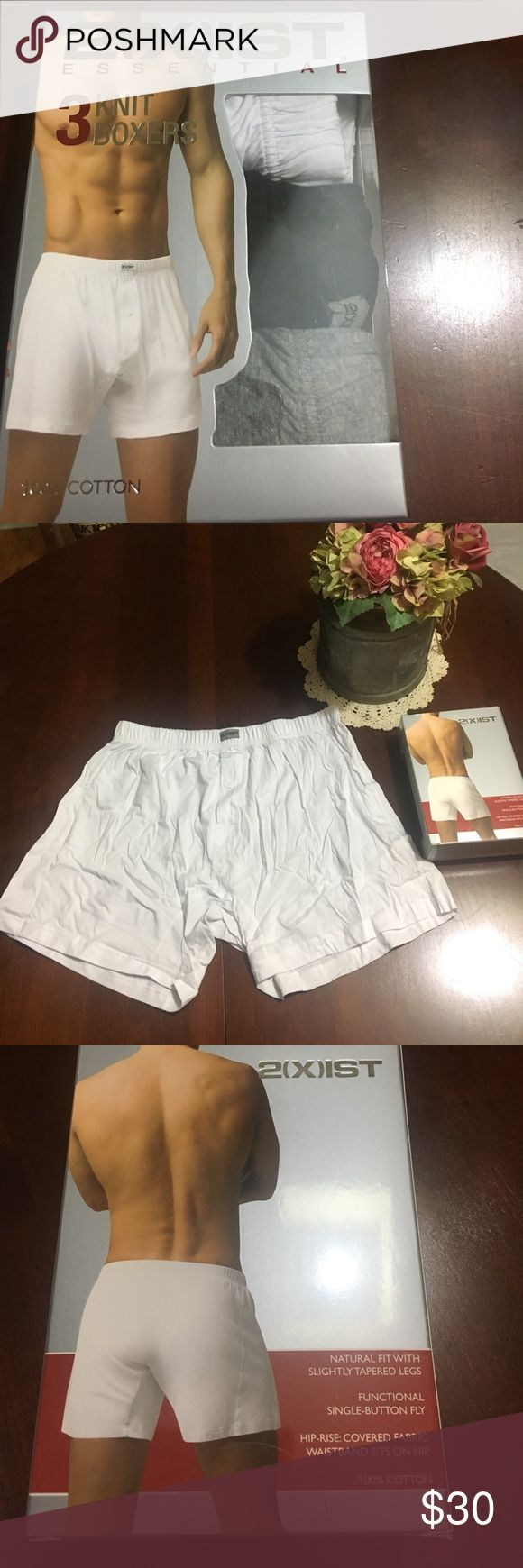 2xist 3pack Cotton Knit Boxers NWOT My husband loves these because it has cotton over the elastic band. The only boxers he will wear! 2xist Underwear & Socks