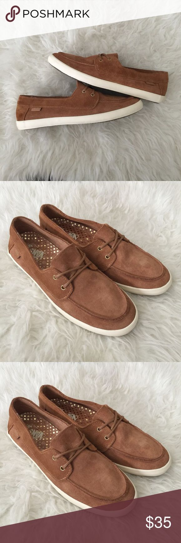 Women's vans cognac suede shoes. Can boat shoes Excellent used condition, only worn a few times. Very minimal wear. Please review photos for details and measurements. No trades Vans Shoes Flats & Loafers