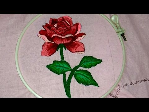 Hand embroidery a beautiful 🌹  rose with shading work