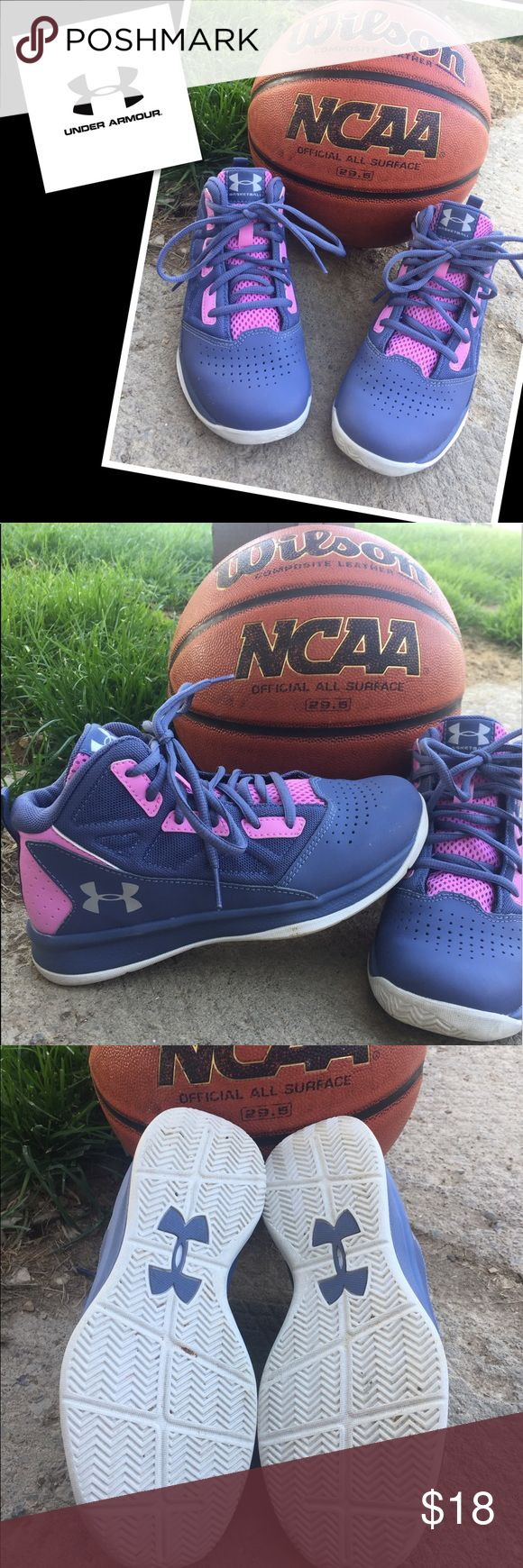 Under Armour Basketball Sneakers Girl's pink & purple high top sneakers for basketball. Only worn for one season and only used for basketball.  Girl's size 2Y Under Armour Shoes Sneakers