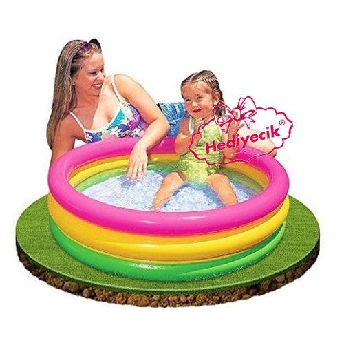 İntex 3 Boğumlu Sunset Bebek Havuzu Kaydırak Pompa Ful Set