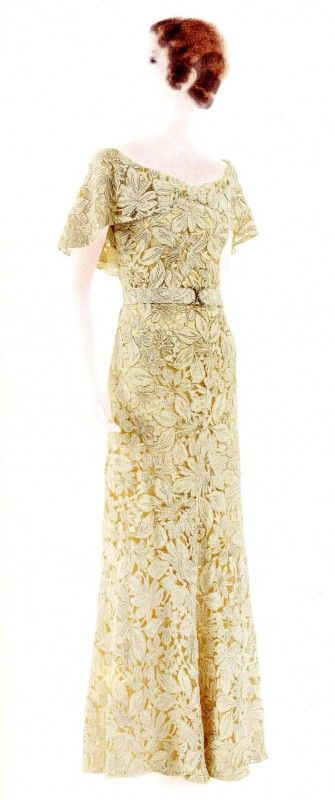 Chanel - Floral Evening Dress, 1938 -House of Chanel  {French, founded 1913} - Design by Coco Chanel {French, 1883-1971} - Wool, Rayon, Lace